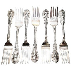 Set of 7 Gorham Mythologique Sterling Silver Large Fish or Salad Forks Monograms