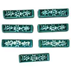 Set of 7 Green Majolica Edelweiss Knife Rests Vallauris, circa 1950