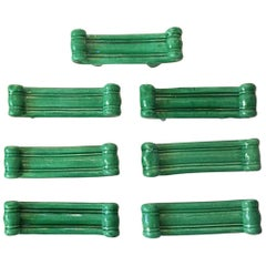 Set of 7 Green Majolica Knife Rests Vallauris, circa 1950