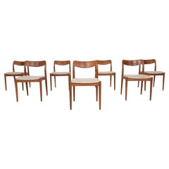 Set of 7 Johannes Andersen for Uldum Møbelfabrik, Dining Chairs, Denmark, 1950s