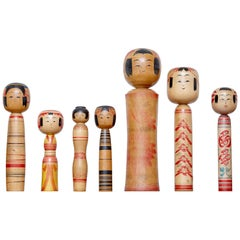 Set of 7 Kokeshi Japanese Wood Hand Painted Doll