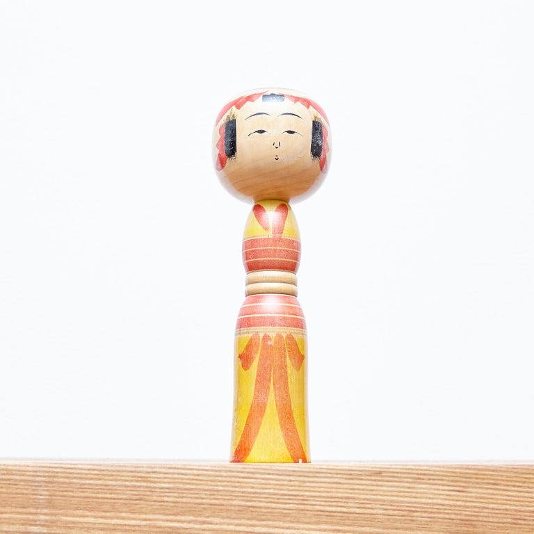 Set of 7 Kokeshi Japanese Wood Hand Painted Doll For Sale 11