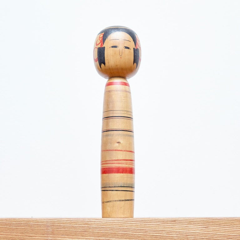 Set of 7 Kokeshi Japanese Wood Hand Painted Doll For Sale 14