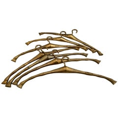 Set of 7 Mid Century Brass Faux Bamboo Clothes or Coat Hangers