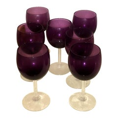 Set of 7 Mid-Century Modern Fostoria Crystal Goblets in a Deep Purple