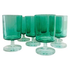 Set of 7 Mid-Century Modern French Crystal Wine Glasses in Emerald, 1960s