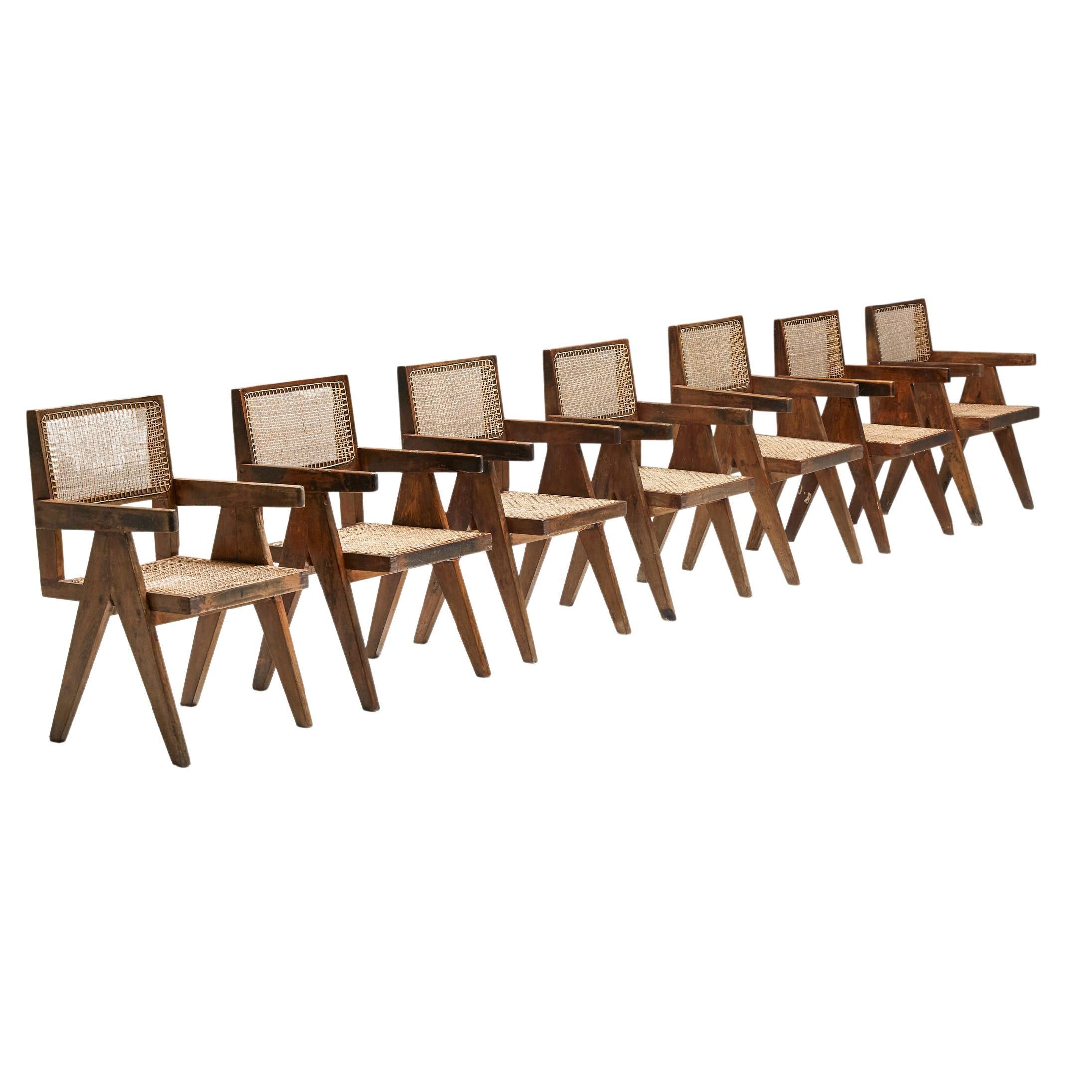 Pierre Jeanneret Set of 7 Office/Dining Cane Chairs, Chandigarh PJ-SI-28-B