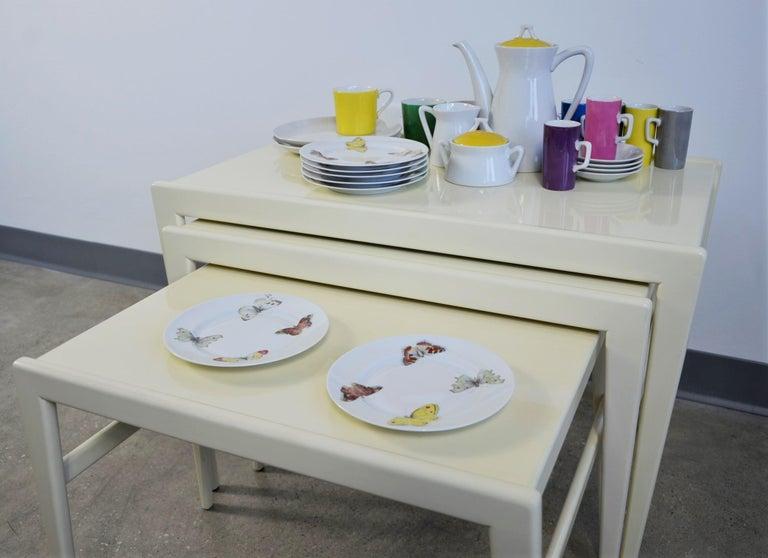 Set of 7 Red Yellow Green Bernardaud Porcelain