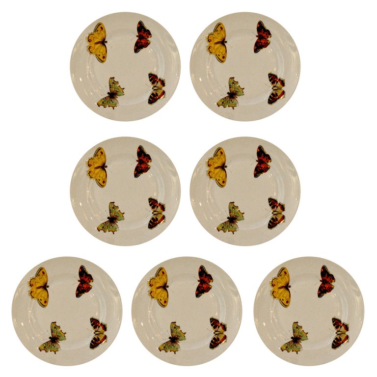 L. Bernardaud butterfly-pattern porcelain canapé plates, 1940–62, offered by MrsPK&OZ Vintage 20th Century Modern