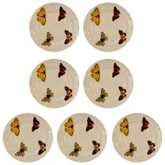 """Set of 7 Red Yellow Green Bernardaud Porcelain """"Butterfly"""" Pattern Canape Plates"""