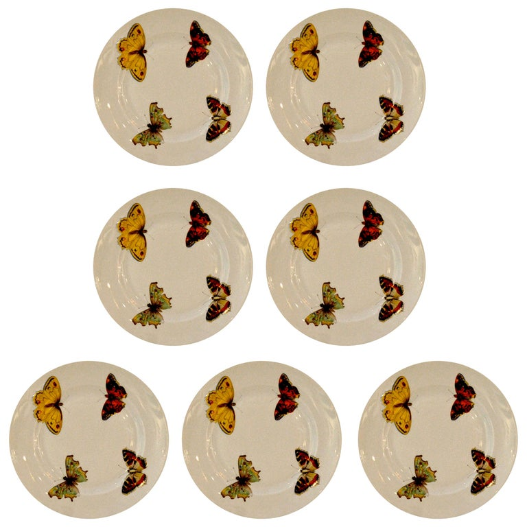 """Set of 7 Red Yellow Green Bernardaud Porcelain """"Butterfly"""" Pattern Canape Plates For Sale"""