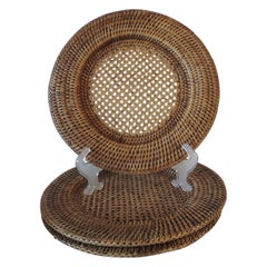 Set of '7' Round Woven Rattan Plate Chargers