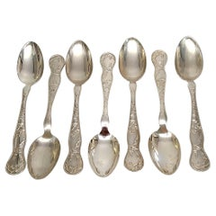 Set of 7 Tiffany & Co American Garden Sterling Silver Dessert/Oval Soup Spoons