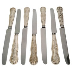 Set of 7 Tiffany & Co American Garden Sterling Silver Handle Dinner Knives