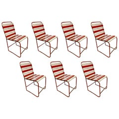 Set of 7 Vintage French Outdoor Dining Chairs