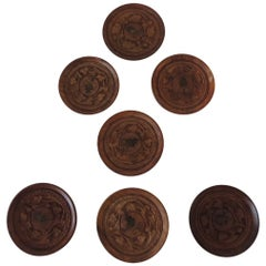 Set of '7' Vintage Hand Carved Round Indian Coasters
