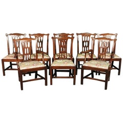 Set of 8 1880s Era Carved Mahogany Chippendale Dining Chairs, circa 1890