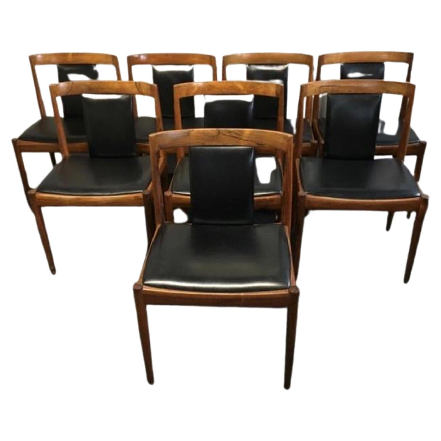 Set of 8 1960s Kai Kristiansen Rosewood Dining Chairs