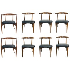 Set of 8 1960s Lawrence Peabody Walnut Dining Chairs