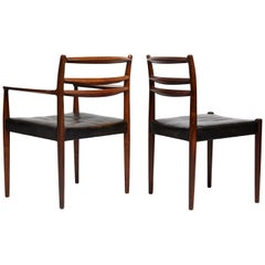 Set of 8 1960s Original Black Leather Danish Chairs with Solid Rosewood Frame