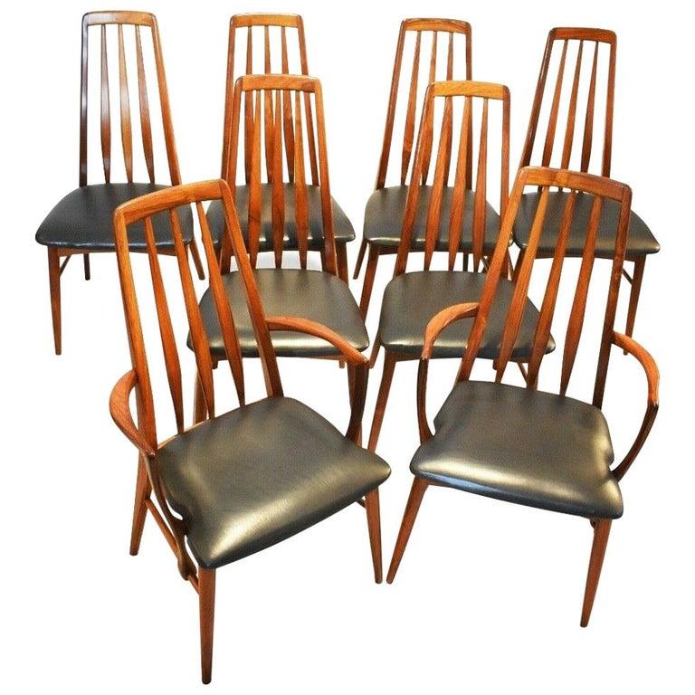 "Set of 8 1960s Rosewood ""Eva"" Niels Koefoed Dining Chairs for Koefoed Hornslet For Sale"