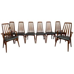 "Set of 8 1960s Teak ""Eva"" Niels Koefoed Dining Chairs for Koefoed Hornslet"