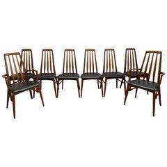"""Set of 8 1960s Teak """"Eva"""" Niels Koefoed Dining Chairs for Koefoed Hornslet"""