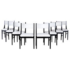 Set of 8, 1980s Modern White Linen and Ebonized Wood Dining Chairs