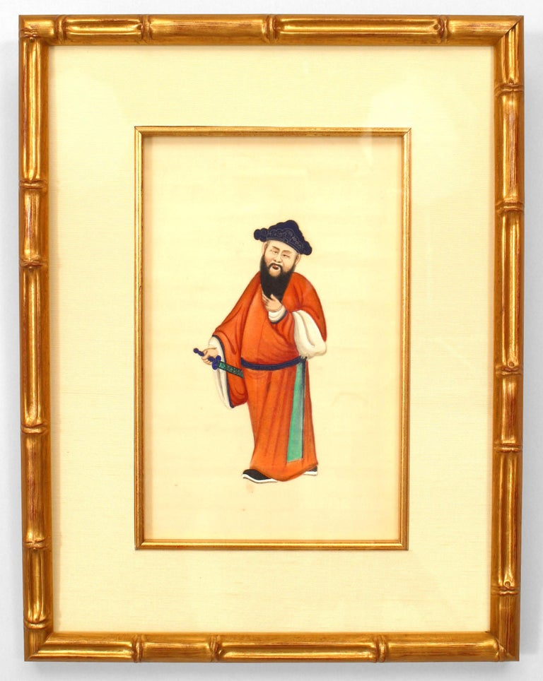 Set of eight Chinese paintings depicting traditionally clad figures painted in vibrant guache hues against a blank white background and set within modern gilt faux bamboo frames.