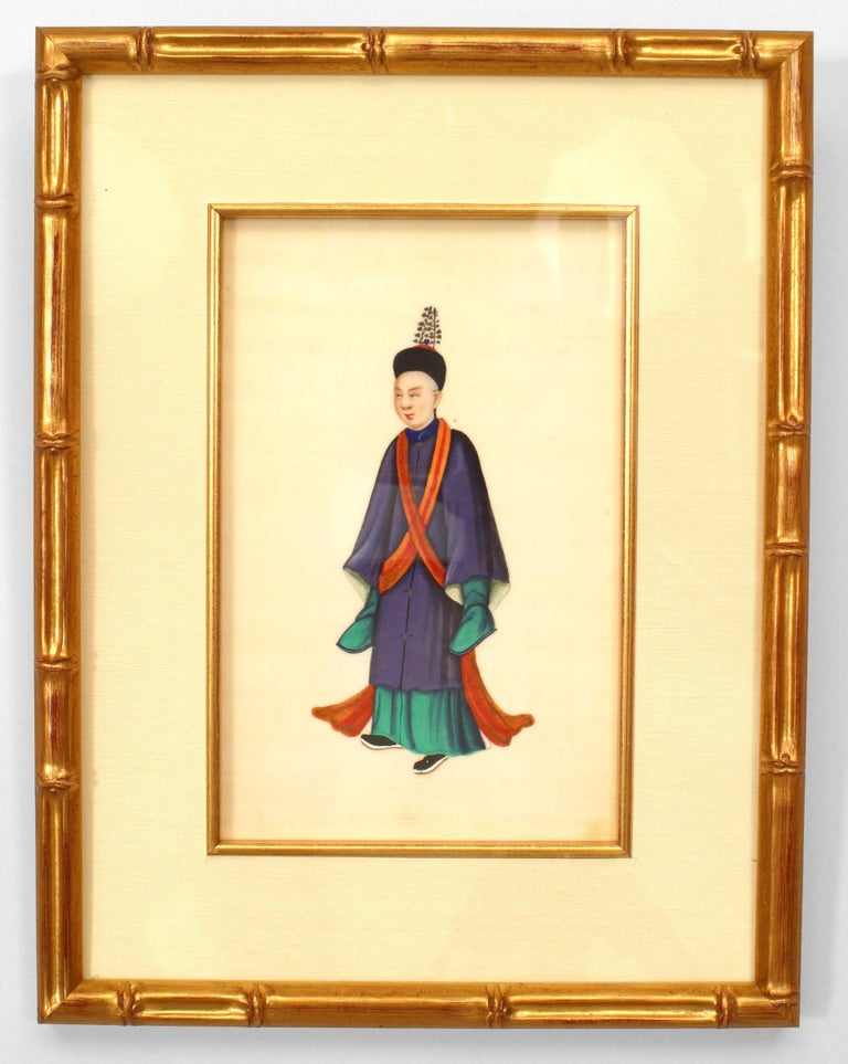 Set of 8 19th c. Chinese Gilt Framed Figures In Good Condition For Sale In New York, NY