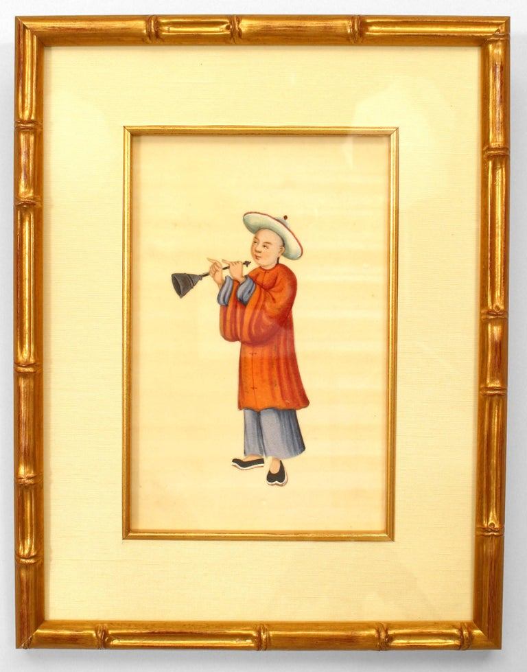 Set of 8 19th c. Chinese Gilt Framed Figures For Sale 3