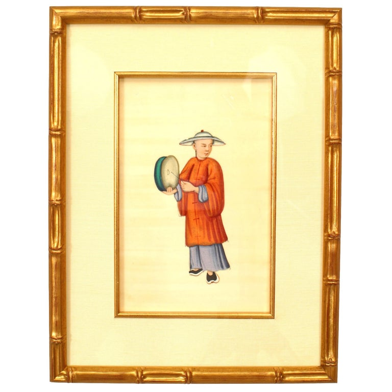 Set of 8 19th c. Chinese Gilt Framed Figures For Sale