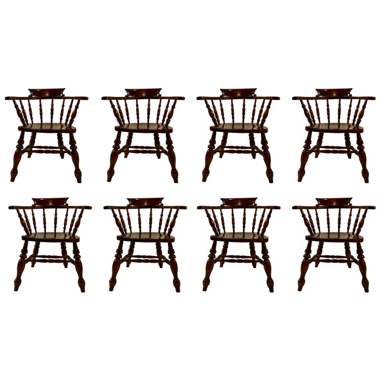Set of 8, 19th Century, Antique Captain's Chairs For Sale