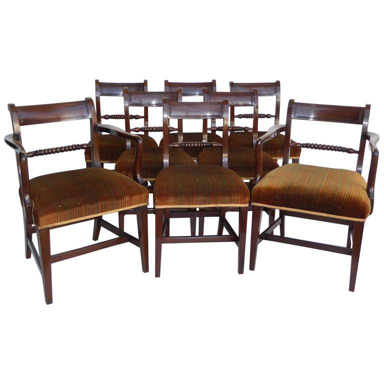 Set of 8 19th Century George III Mahogany Dining Chairs For Sale