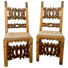 Set of 8 19th Century Italian Renaissance Revival Carved Dining Chairs and Table