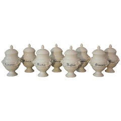 Set of 8 19th Century Italian stamped Apothecary / Pharmacy Jars