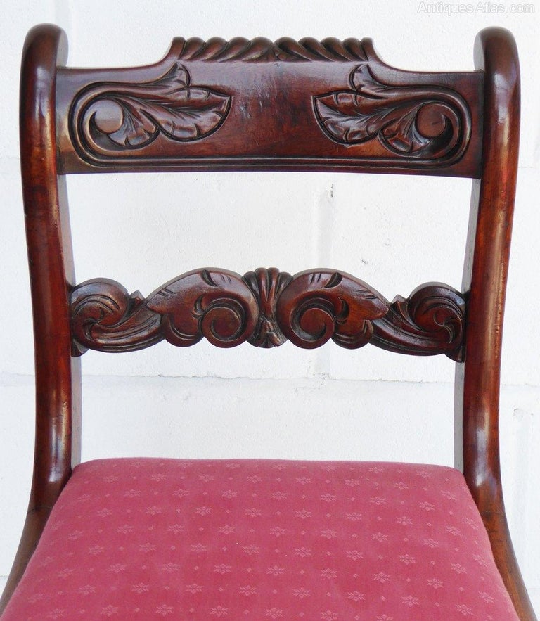 English Set of 8 19th Century Regency Mahogany Dining Chairs For Sale