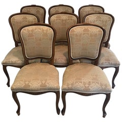 Set of 8 20th Century Wood and Upholstered Dining Chairs