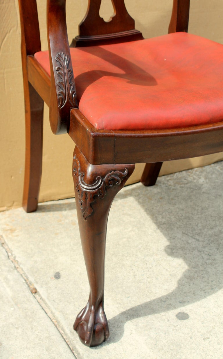 Set of 8 '6+2' Antique English Solid Mahogany Chippendale Style Dining Chairs For Sale 5