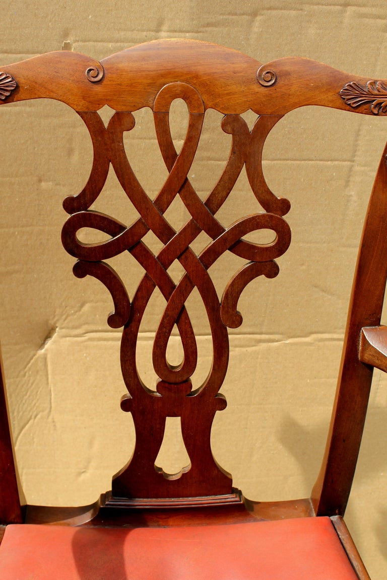 Set of 8 '6+2' Antique English Solid Mahogany Chippendale Style Dining Chairs For Sale 6