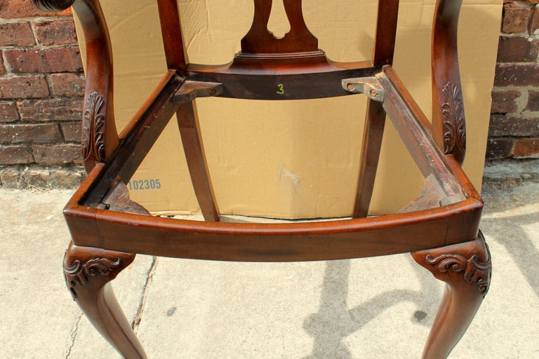 Set of 8 '6+2' Antique English Solid Mahogany Chippendale Style Dining Chairs For Sale 9