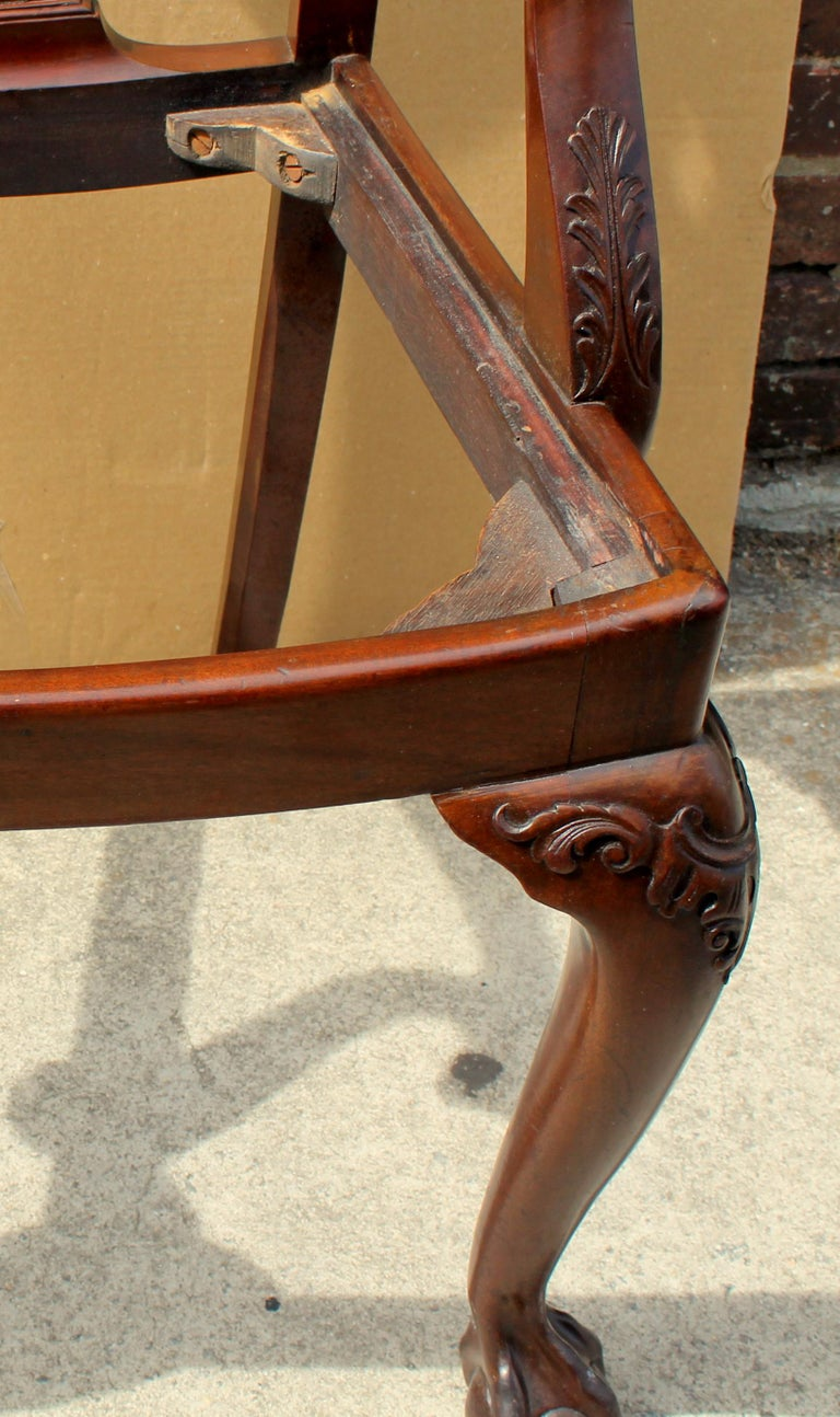 Set of 8 '6+2' Antique English Solid Mahogany Chippendale Style Dining Chairs For Sale 10
