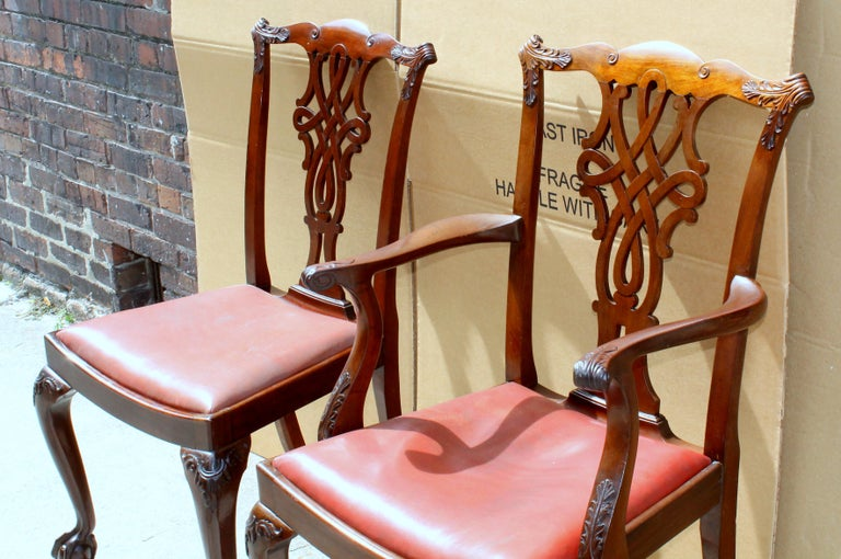 Set of 8 '6+2' Antique English Solid Mahogany Chippendale Style Dining Chairs For Sale 13