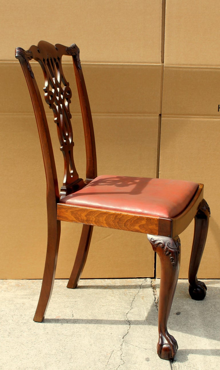 Set of 8 '6+2' Antique English Solid Mahogany Chippendale Style Dining Chairs For Sale 14