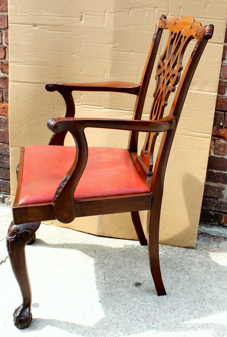 Hand-Carved Set of 8 '6+2' Antique English Solid Mahogany Chippendale Style Dining Chairs For Sale