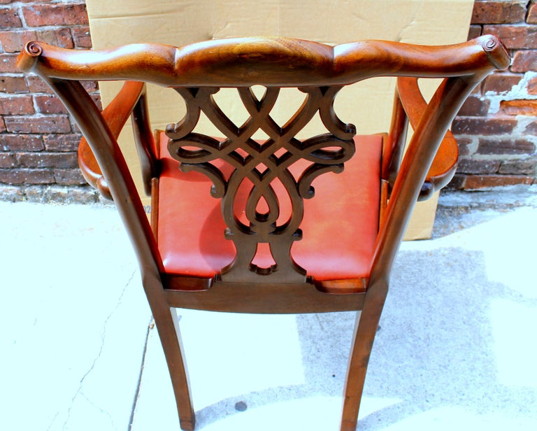 19th Century Set of 8 '6+2' Antique English Solid Mahogany Chippendale Style Dining Chairs For Sale