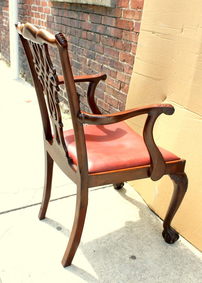 Set of 8 '6+2' Antique English Solid Mahogany Chippendale Style Dining Chairs For Sale 1