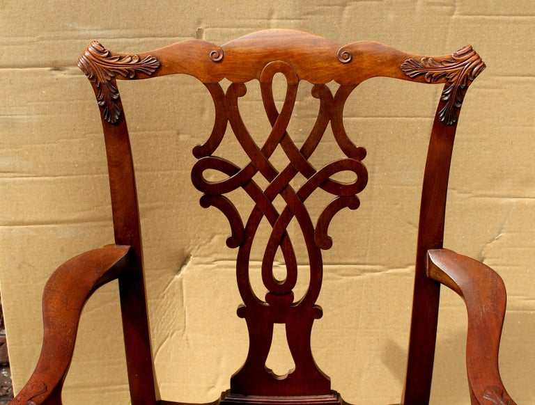 Set of 8 '6+2' Antique English Solid Mahogany Chippendale Style Dining Chairs For Sale 2