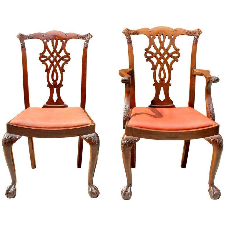 Set of 8 '6+2' Antique English Solid Mahogany Chippendale Style Dining Chairs For Sale