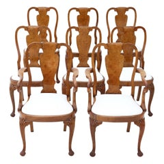 Set of 8 '6+2' Burr Walnut Queen Anne Revival Dining Chairs